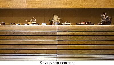 Sauna decoration - Decoration in a sauna, part of a wooden...