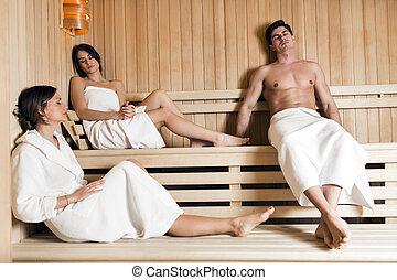 sauna, grupo, jovem, relaxante, pessoas