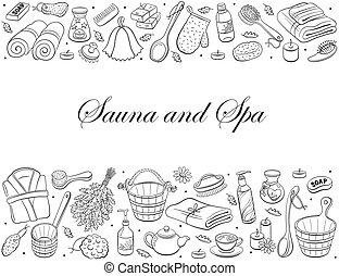 sauna hand drawn - Sauna and spa. Sauna accessories sketches...