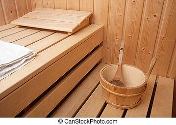 Sauna - Interior of a finnish wooden sauna
