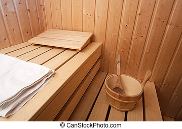 Sauna - Interior of a wooden sauna