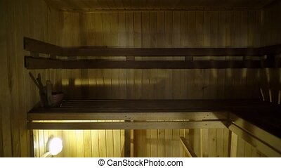 Sauna interior - Relax in a hot sauna in wooden house