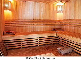 sauna interior with wooden walls and benches