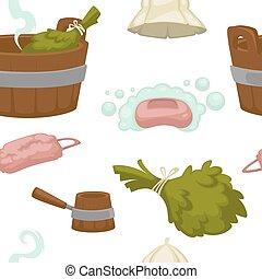 sauna, maison, modèle, bain, seamless, accessoires, coloré