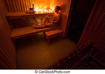 sauna, -, mujer hermosa
