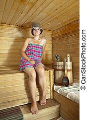 sauna, mulher, bonito