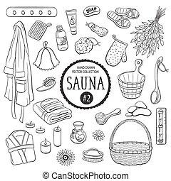 Sauna objects collection - Sauna accessories sketch. Hand...