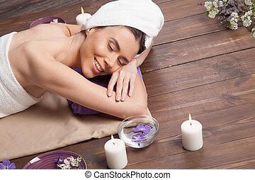 sauna, relaxamento, spa, menina, banho, massagem