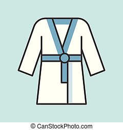 sauna robe icon, filled outline