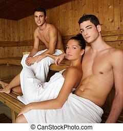Sauna spa therapy young beautiful people group - Sauna spa...