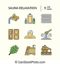Sauna Theme Icon Set