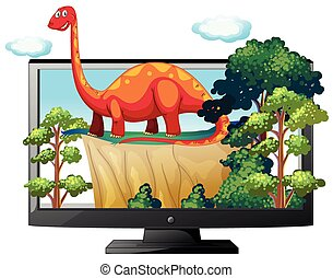 Sauropod on the computer monitor