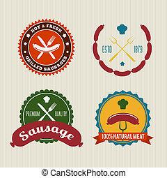 sausage, abzeichen, weinlese, vektor, satz
