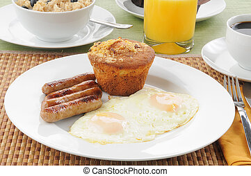 Sausage and eggs with coffee cake