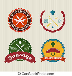 Sausage Badges Vintage Vector Set on Retro Background