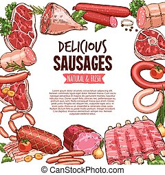Sausage, beef and pork meat delicatessen banner