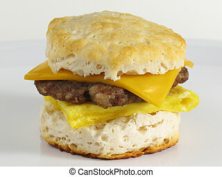 Start your morning right with this delicious breakfast sandwich… a fresh baked buttermilk biscuit with a sausage patty, eggs, and cheese!