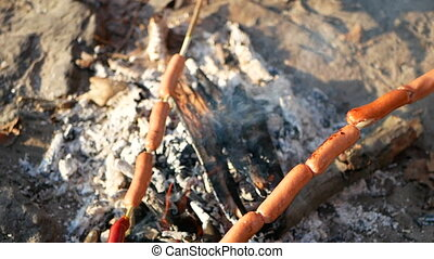 Sausage campfire summer - Sausage roasted on the campfire in...