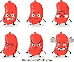 Sausage cartoon character with various angry expressions