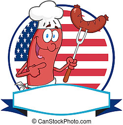 Sausage Cartoon Logo Over A Circle And Blank Banner In Front...