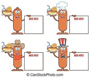 Sausage Character 7. Collection Set - Sausage Cartoon Mascot...