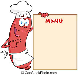 Sausage Chef Showing Menu - Happy Sausage Chef Cartoon...