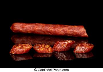 sausage, geräuchert, pikant, glas, freigestellt, schwarz