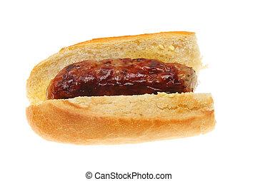 Sausage in baguette