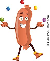 Sausage juggling, illustration, vector on white background.
