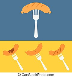 Sausage on barbecue fork vector