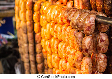 Sausage on the clothesline.