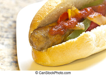 Sausage Onion and Peppers on a Bun