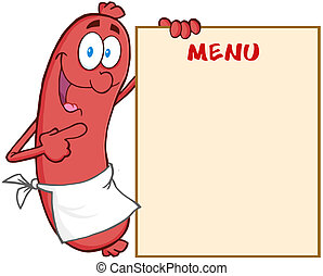 Sausage Showing Menu - Happy Sausage Cartoon Mascot...