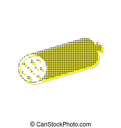 Sausage sign illustration. Vector. Yellow icon with square patte