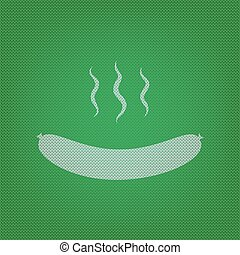 Sausage simple sign. white icon on the green knitwear or woolen cloth texture.