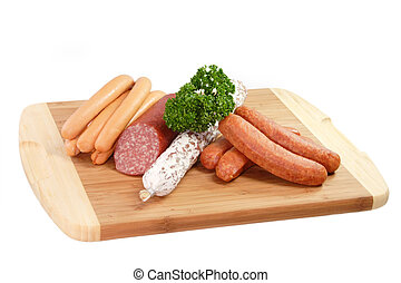 Sausage Sorts - Sausage with parsley on a brown Kitchen...