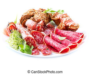 Sausage. Various Italian Ham, Salami and Bacon isolated on White