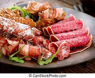 Sausage. Various Italian Ham, Salami and Bacon. Meat Food