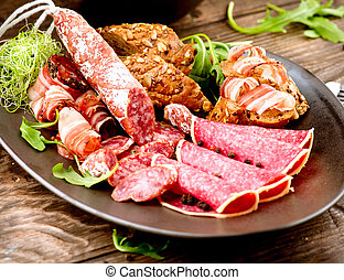 Sausage. Various Italian Ham, Salami and Bacon