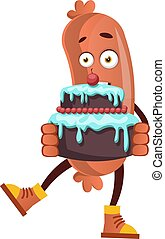 Sausage with birthday cake, illustration, vector on white background.