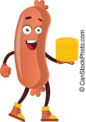 Sausage with coins, illustration, vector on white background.