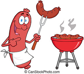 Sausage With Sausage On Fork And Barbecue