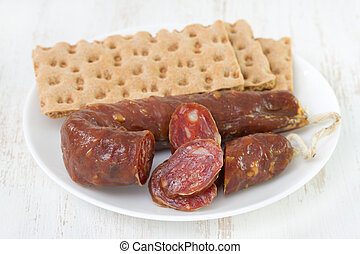 sausage with toasts on plate
