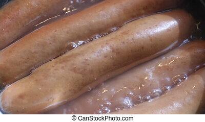 sausages, макрос, плита, выстрел, кипение