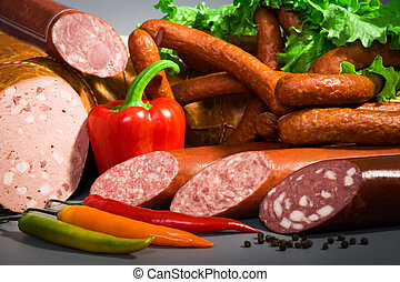 sausages and ham