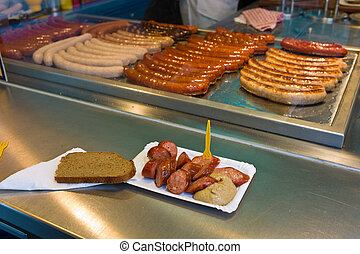 sausages at a snack stall - sausage the concession stand,...