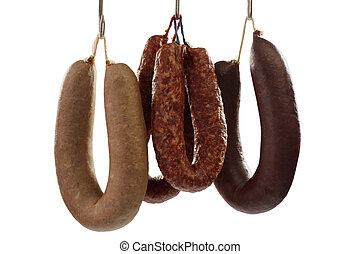 Sausages - Different sorts of home-made sausages - isolated...