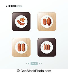 sausages, Hot dog Icons design food on wood
