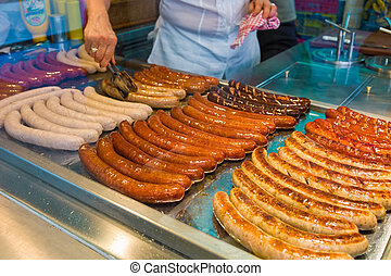 sausages in a fast food - in a fast food fresh sausages are...