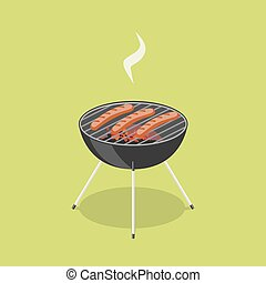 Sausages in barbecue isometric vector illustration
